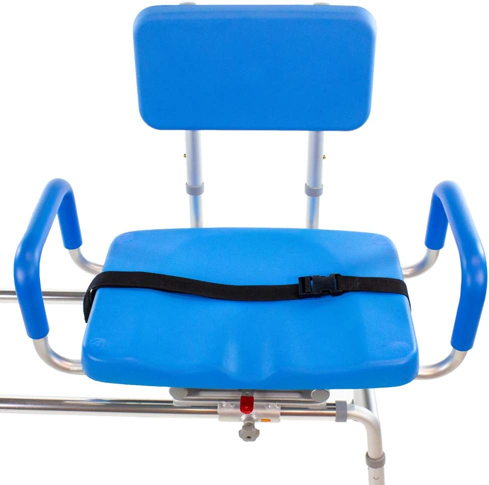 Carousel Sliding Transfer Bench with Swivel Seat-BARIATRIC 600LB Capacity.