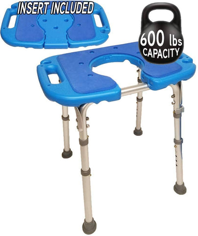 Atlas Deluxe Bariatric Shower/Bath Bench, 600lb. Capacity, Padded with Cutout and Insert. Heavy Duty Shower Chair/Stool with Adjustable Height and XL Seat