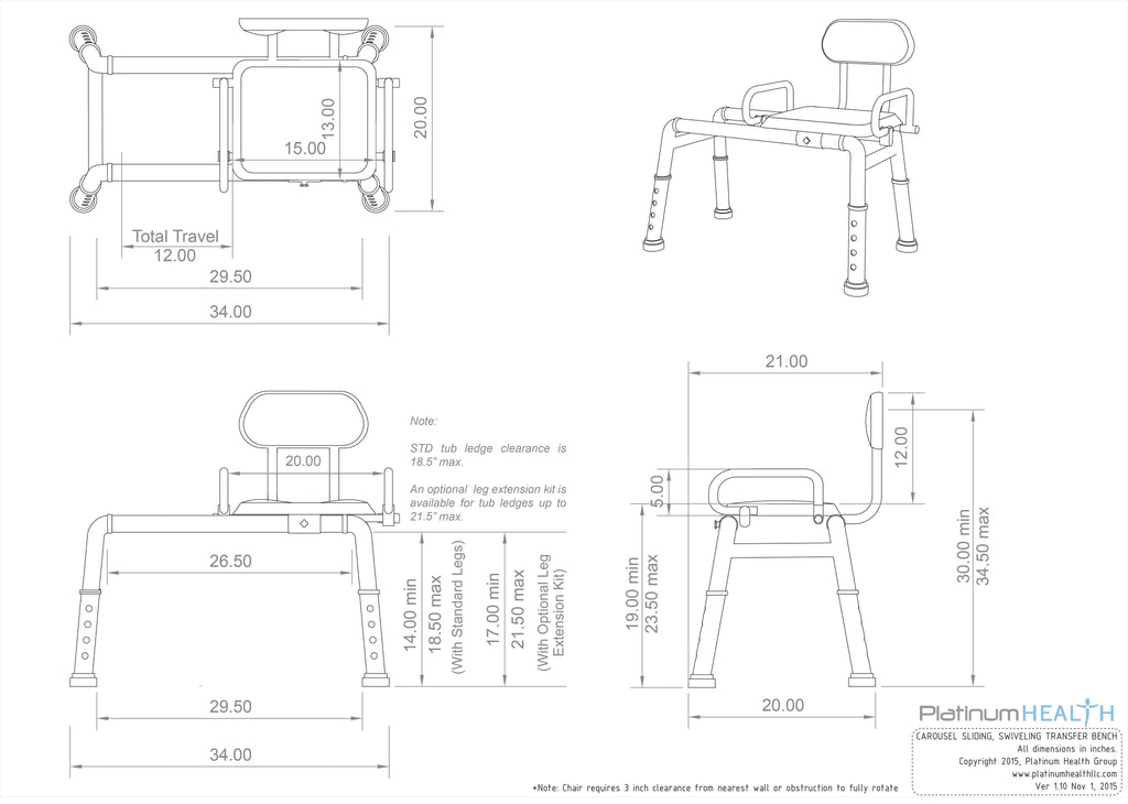 Carousel Sliding Transfer Bench with Swivel Seat. ***FREE ONLINE ...