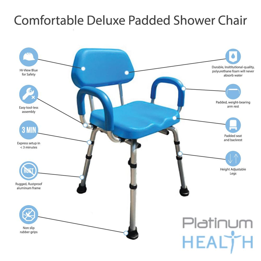 COMFORTABLE(TM) DELUXE BATH / SHOWER CHAIR - PADDED WITH ARMRESTS Features
