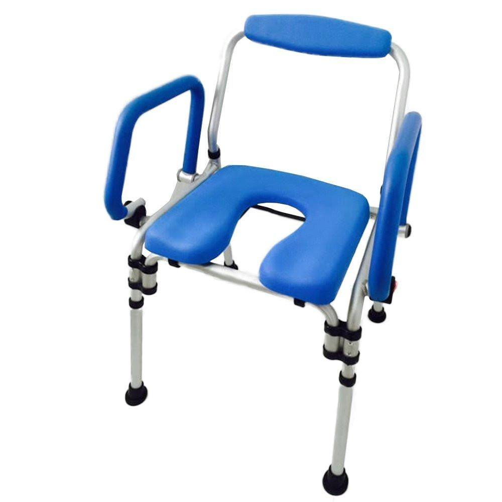 PADDED COMMODE/SHOWER CHAIR - Folds for Storage, PIVOTING ARMRESTS