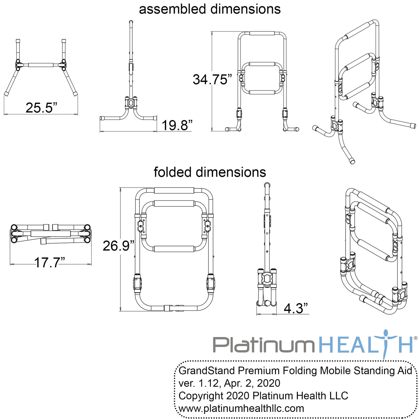 GRANDSTAND STANDING AID AND SUPPORT FRAME Dimensions