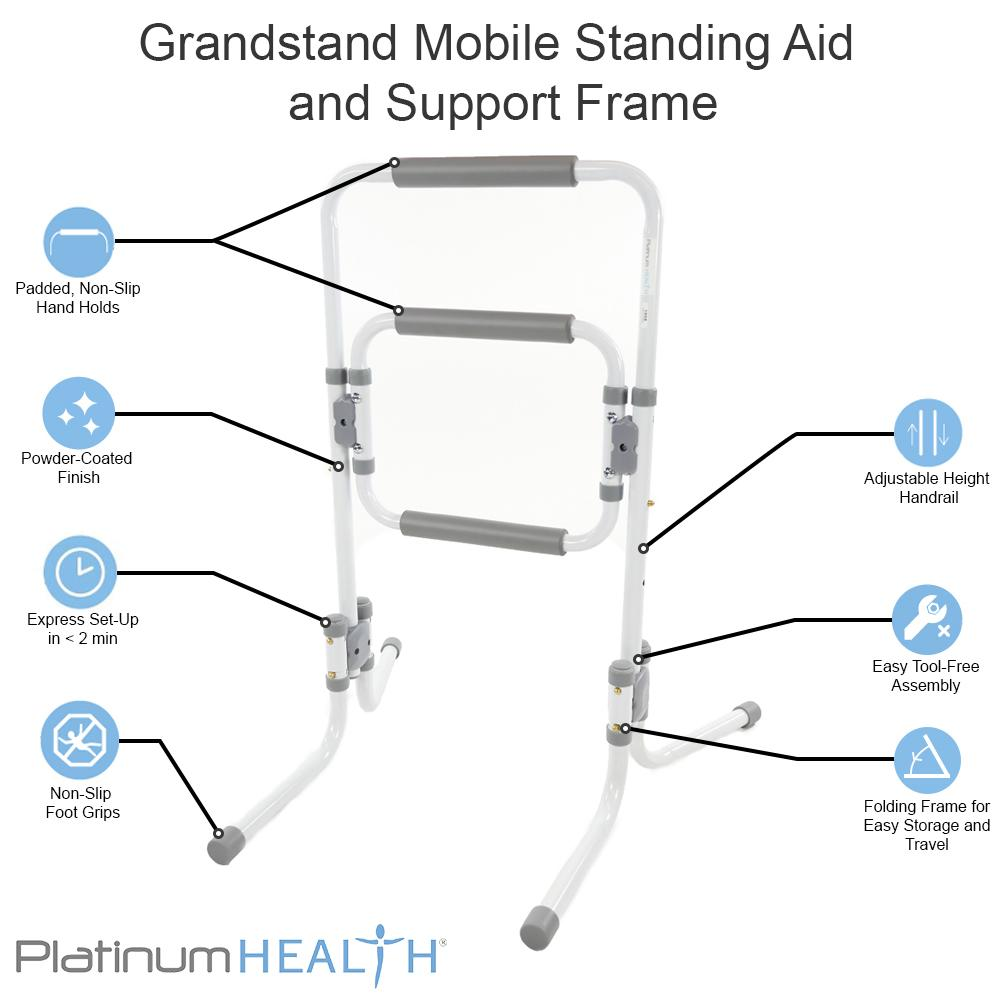 GRANDSTAND STANDING AID AND SUPPORT FRAME Features