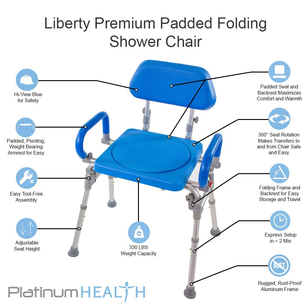 LIBERTY FOLDING SHOWER CHAIR WITH SWIVEL SEAT features
