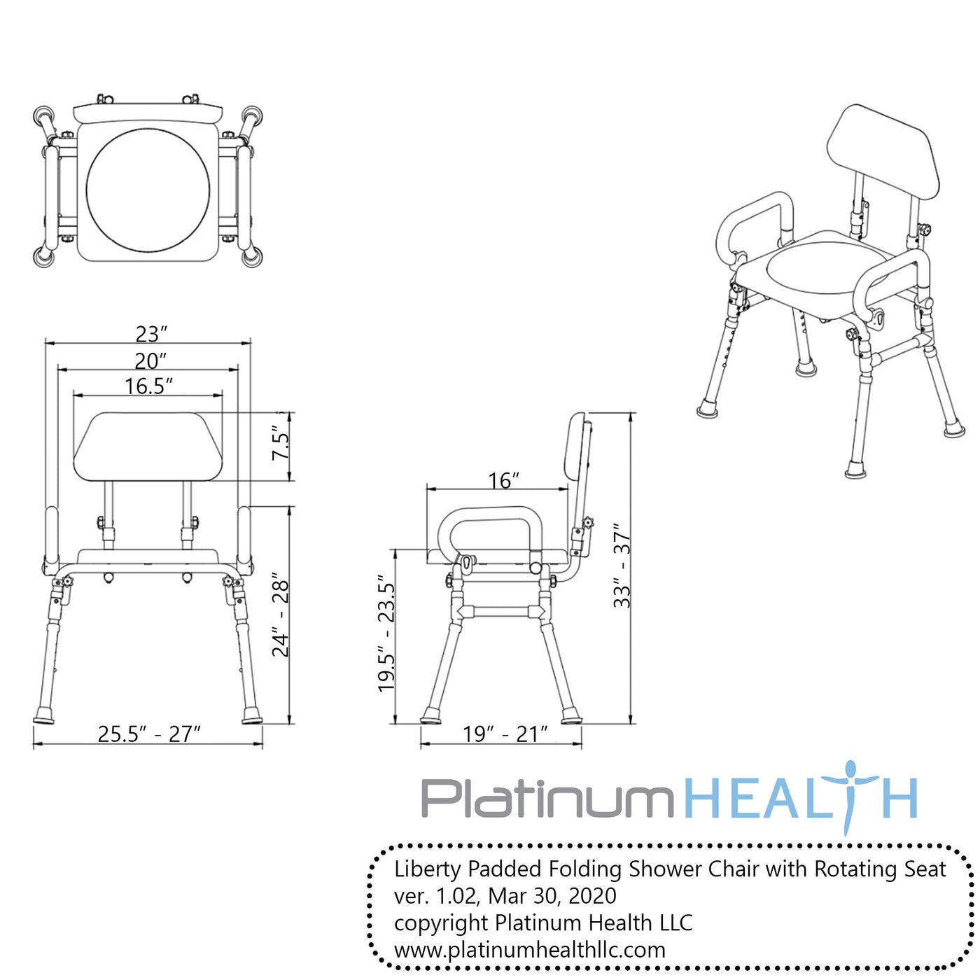 LIBERTY FOLDING SHOWER CHAIR WITH SWIVEL SEAT dimensions
