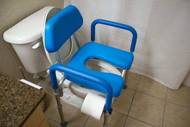 Dignity Commode, MEDICAL-GRADE Aluminum, COMMERCIAL-GRADE Construction, UNIVERSAL Height Adjustability, AMBIDEXTROUS Toilet Paper Holder, DOUBLES AS SHOWER CHAIR