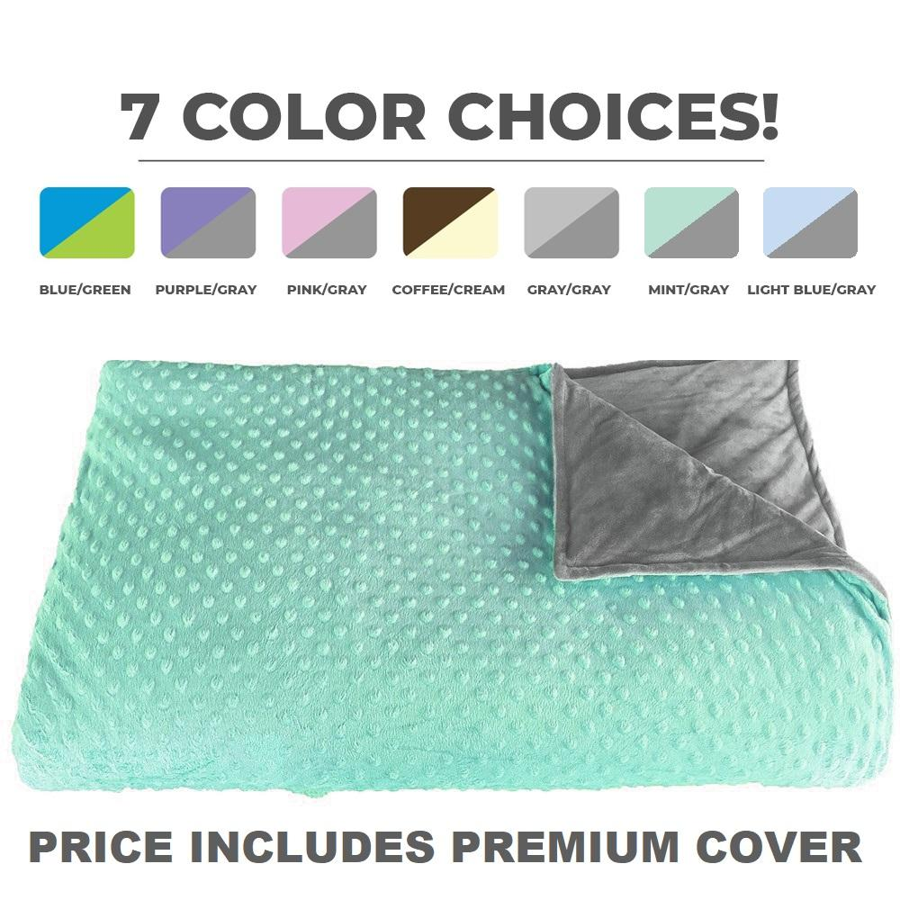 CALMFORTER(TM) WEIGHTED BLANKET PREMIUM WEIGHTED BLANKET - Mint/Gray