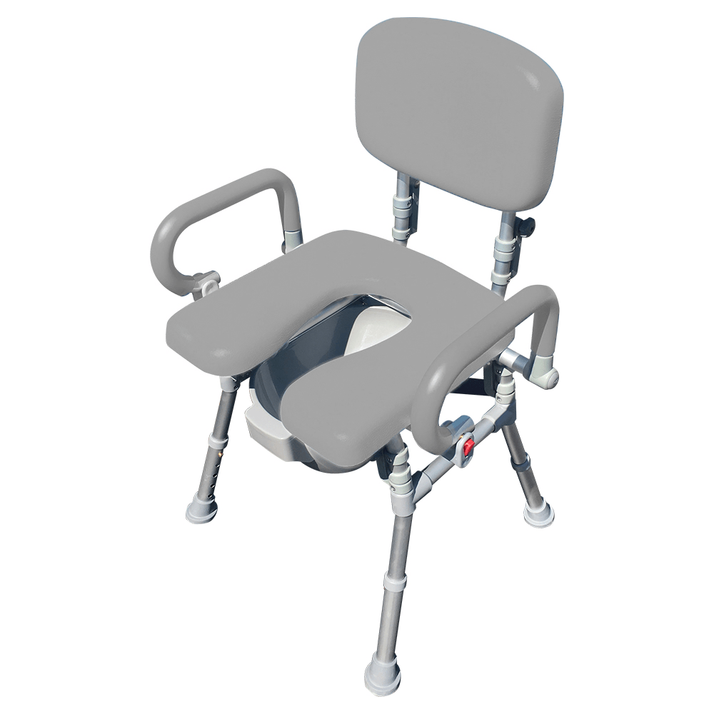 UltraCommode Voted #1 Most Comfortable Bedside Commode Chair - Soft, Warm, Padded and Foldable. XL Seat with 100% Open Front, Padded Pivoting Armrests, Adjustable Height. FREE Commode Pail
