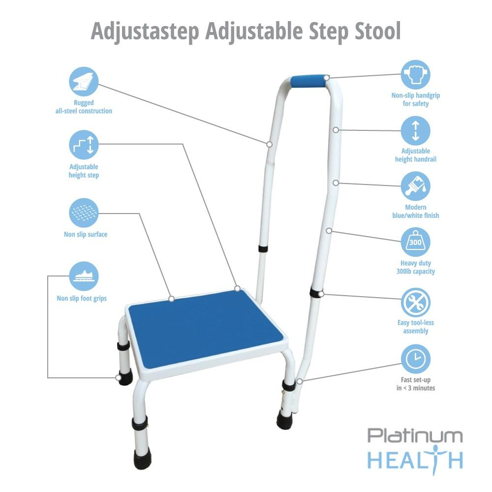 ADJUSTASTEP DELUXE STEP STOOL WITH HANDRAIL Features