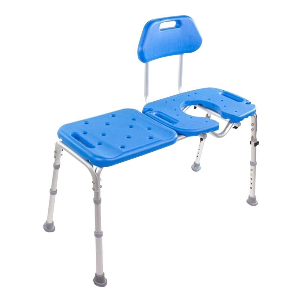 All-Access Bath Transfer Bench With Cutout - Blue
