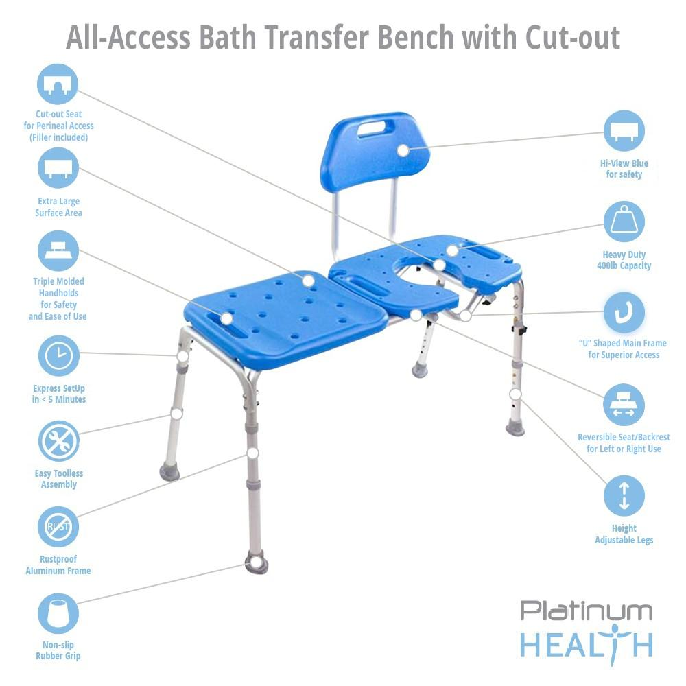 ALL-ACCESS Bath Transfer Bench with CUTOUT for Tub and Shower ...