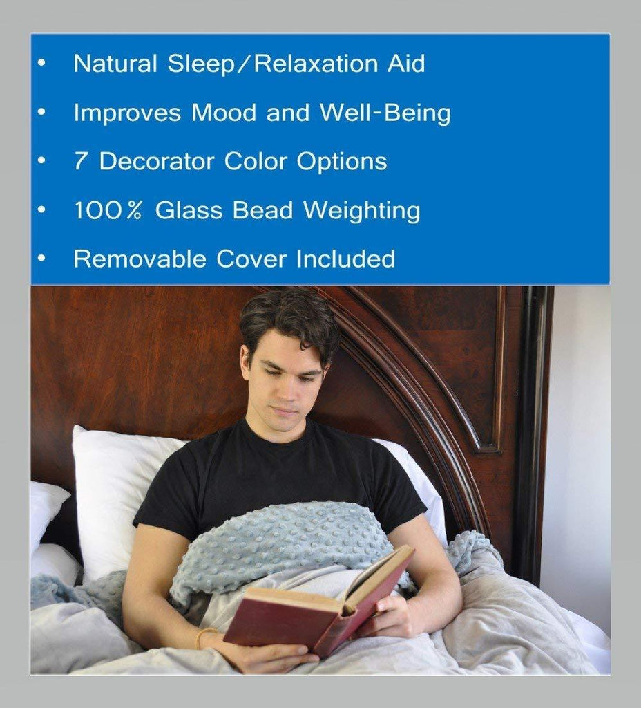 CALMFORTER(tm) Weighted Blanket Premium Weighted Blanket, Perfect Size and Weight For Adults and Children. Deluxe CALMFORTER(tm) Blanket Relieves Anxiety, Stress, Agitation, Insomnia.