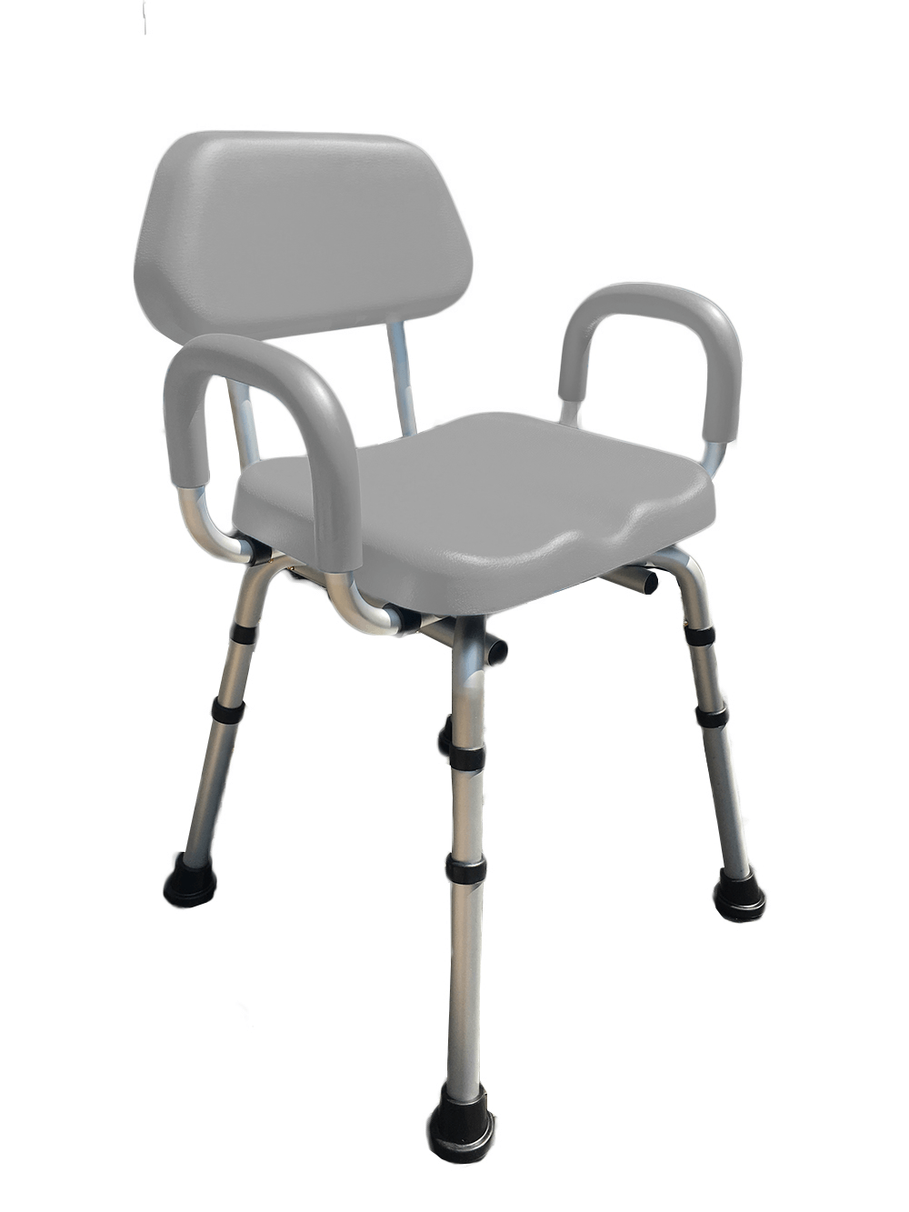 COMFORTABLE(TM) DELUXE BATH / SHOWER CHAIR - PADDED WITH ARMRESTS Grey