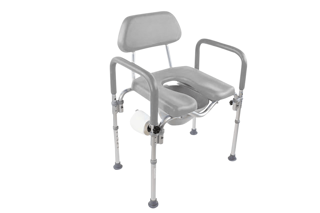 DIGNITY COMMODE / Shower Chair, MEDICAL-GRADE ALUMINUM, COMMERCIAL-GRADE CONSTRUCTION, UNIVERSAL HEIGHT ADJUSTABILITY - grey