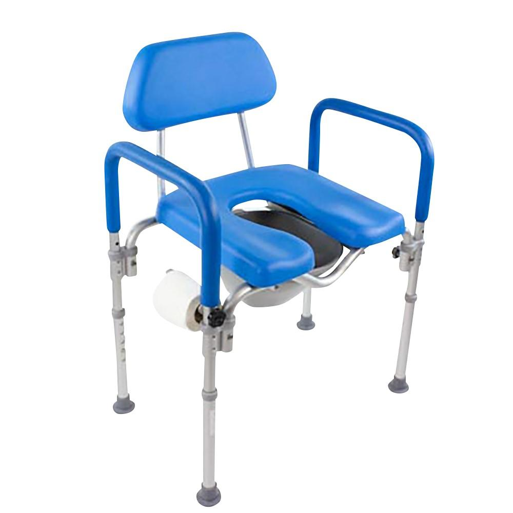 DIGNITY COMMODE / Shower Chair, MEDICAL-GRADE ALUMINUM, COMMERCIAL-GRADE CONSTRUCTION, UNIVERSAL HEIGHT ADJUSTABILITY - blue