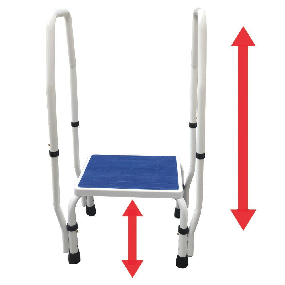 AdjustaStep(tm) DoubleSafe Deluxe Step Stool with Dual Handrail