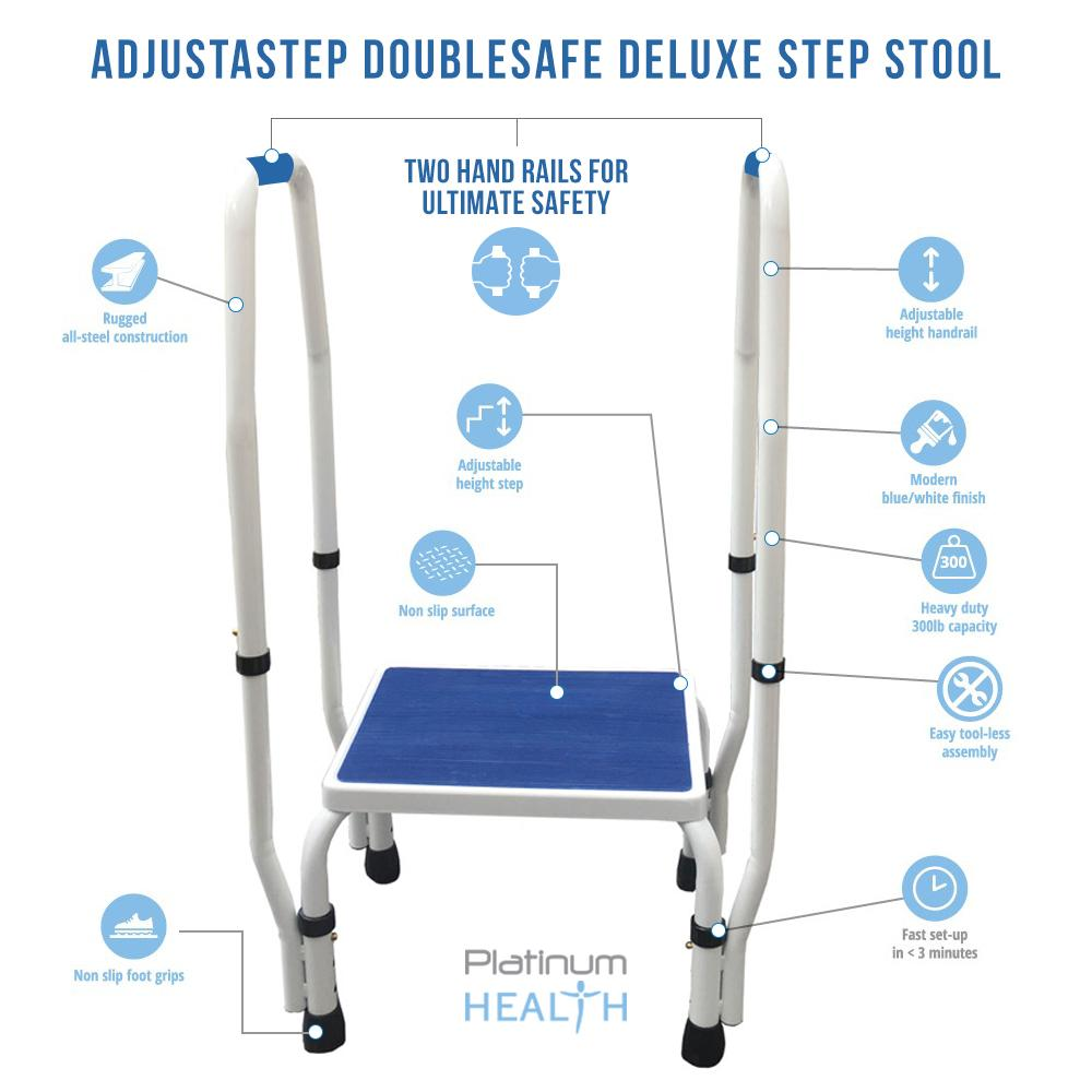 AdjustaStep DoubleSafe Deluxe Step Stool with Dual Handrail