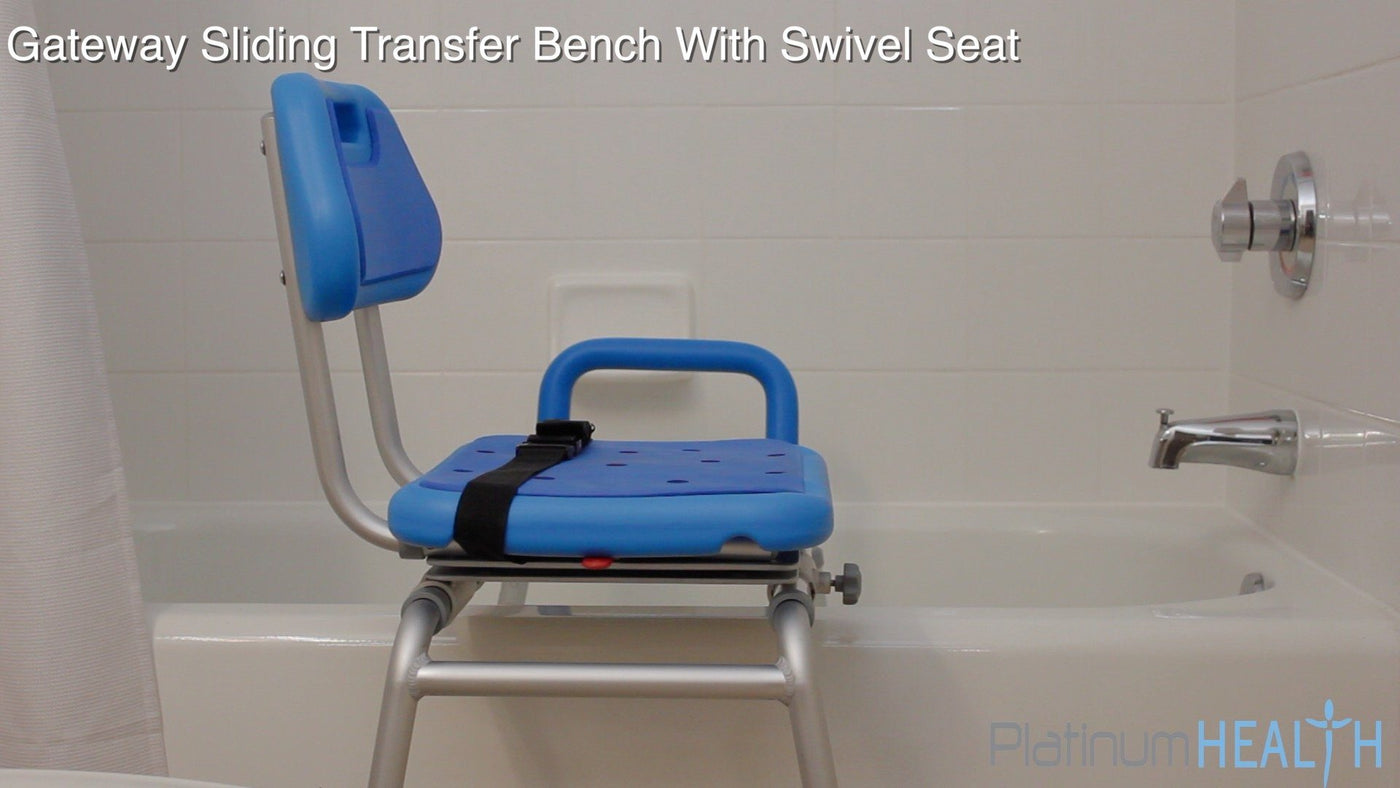 SLIDING BATH TRANSFER BENCH WITH SWIVEL SEAT PADDED - bathtub transfer