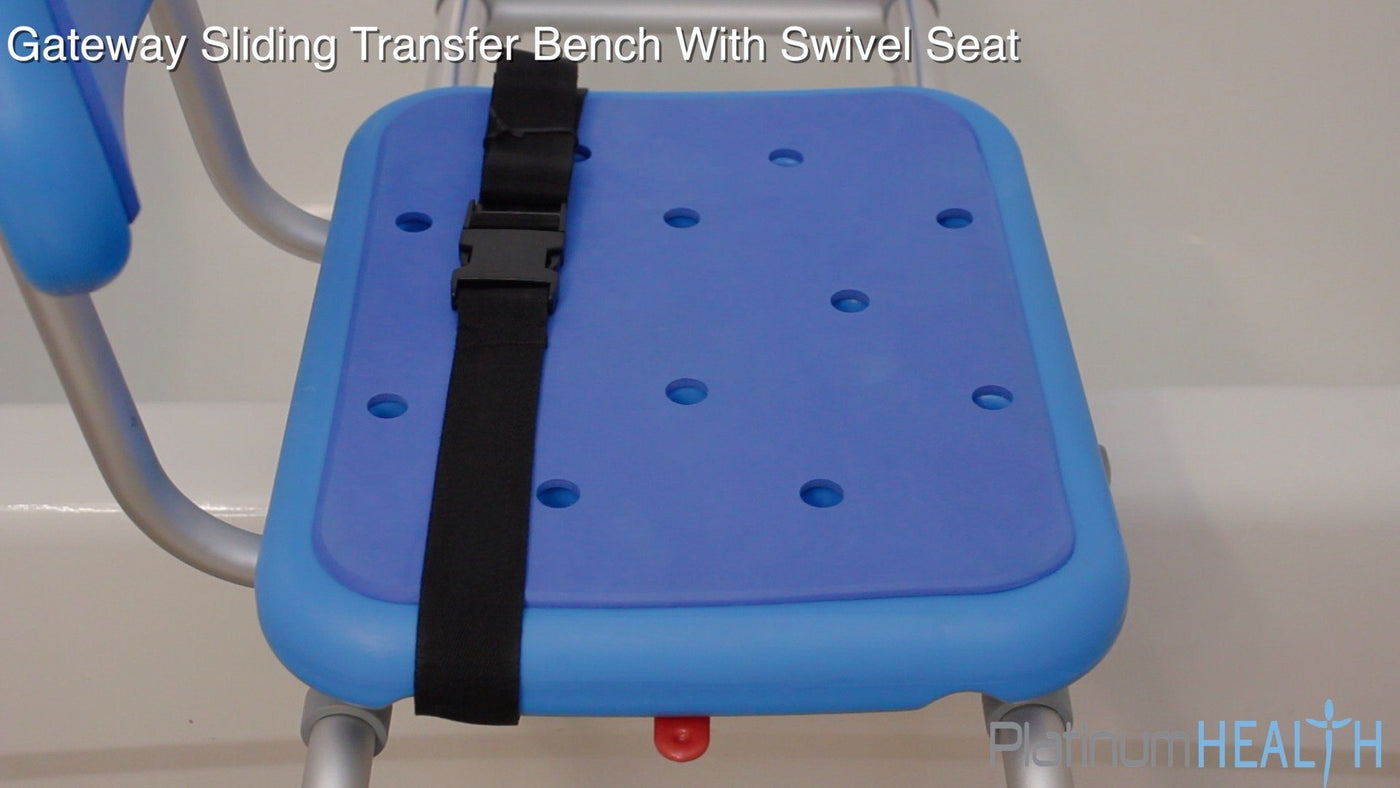 SLIDING BATH TRANSFER BENCH WITH SWIVEL SEAT PADDED - seat strap