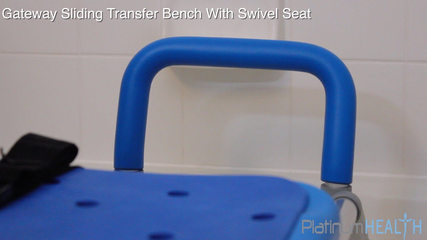SLIDING BATH TRANSFER BENCH WITH SWIVEL SEAT PADDED - hand rail