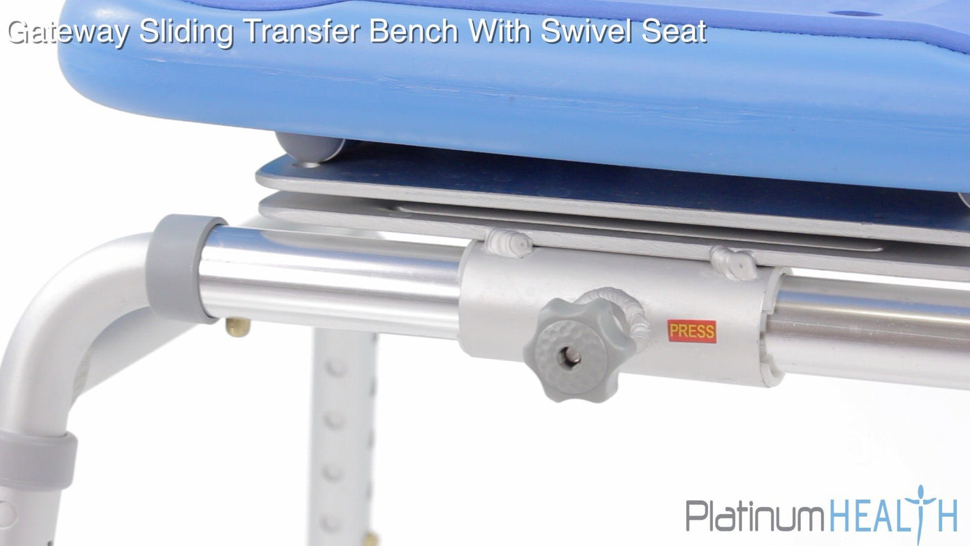 SLIDING BATH TRANSFER BENCH WITH SWIVEL SEAT PADDED - adjustment knob