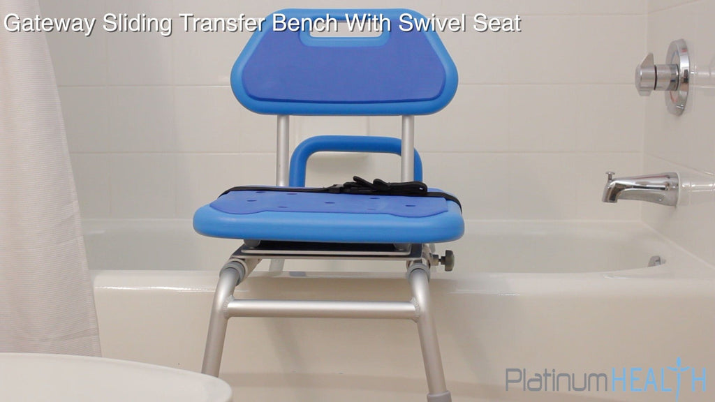 SLIDING BATH TRANSFER BENCH WITH SWIVEL SEAT PADDED - bathtub seat