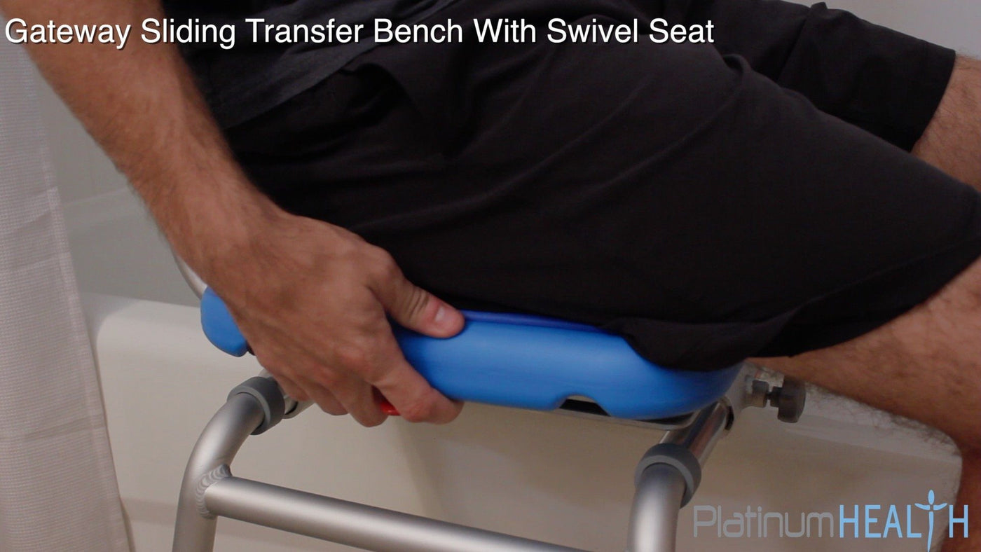 SLIDING BATH TRANSFER BENCH WITH SWIVEL SEAT PADDED