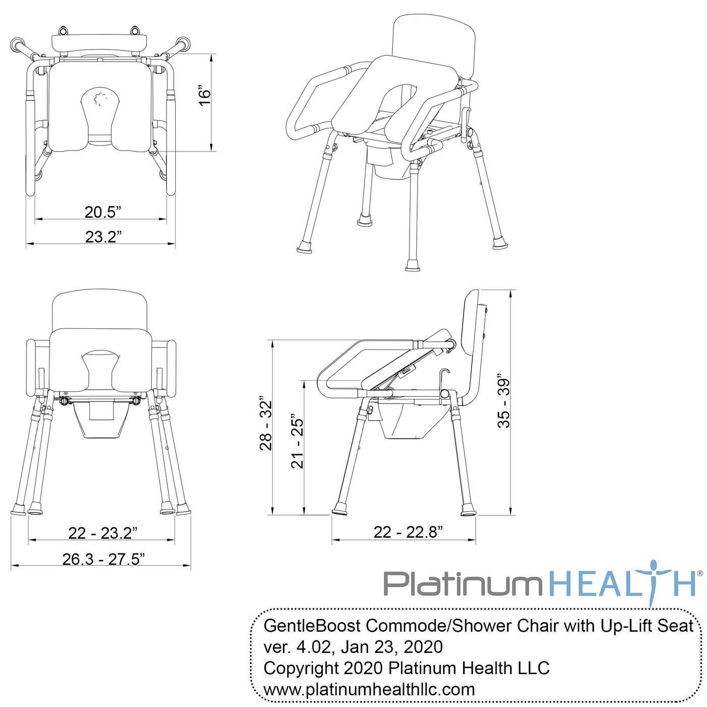 GENTLEBOOST UPLIFT ASSIST COMMODE & SHOWER CHAIR WITH INTEGRATED TOILET SAFETY RAIL SELF-POWERED UPLIFT SEAT - dimensions