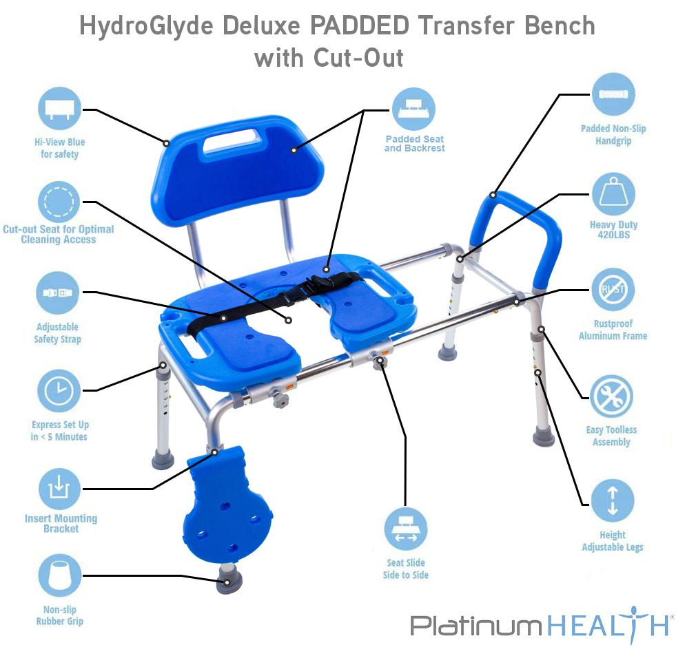 HydroGlyde Premium Sliding Bath Transfer Bench with Cutout