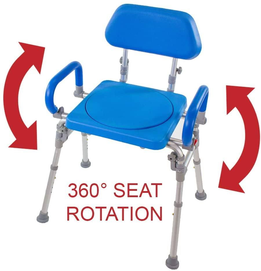 LIBERTY FOLDING SHOWER CHAIR WITH SWIVEL SEAT - 360 degree seat rotation