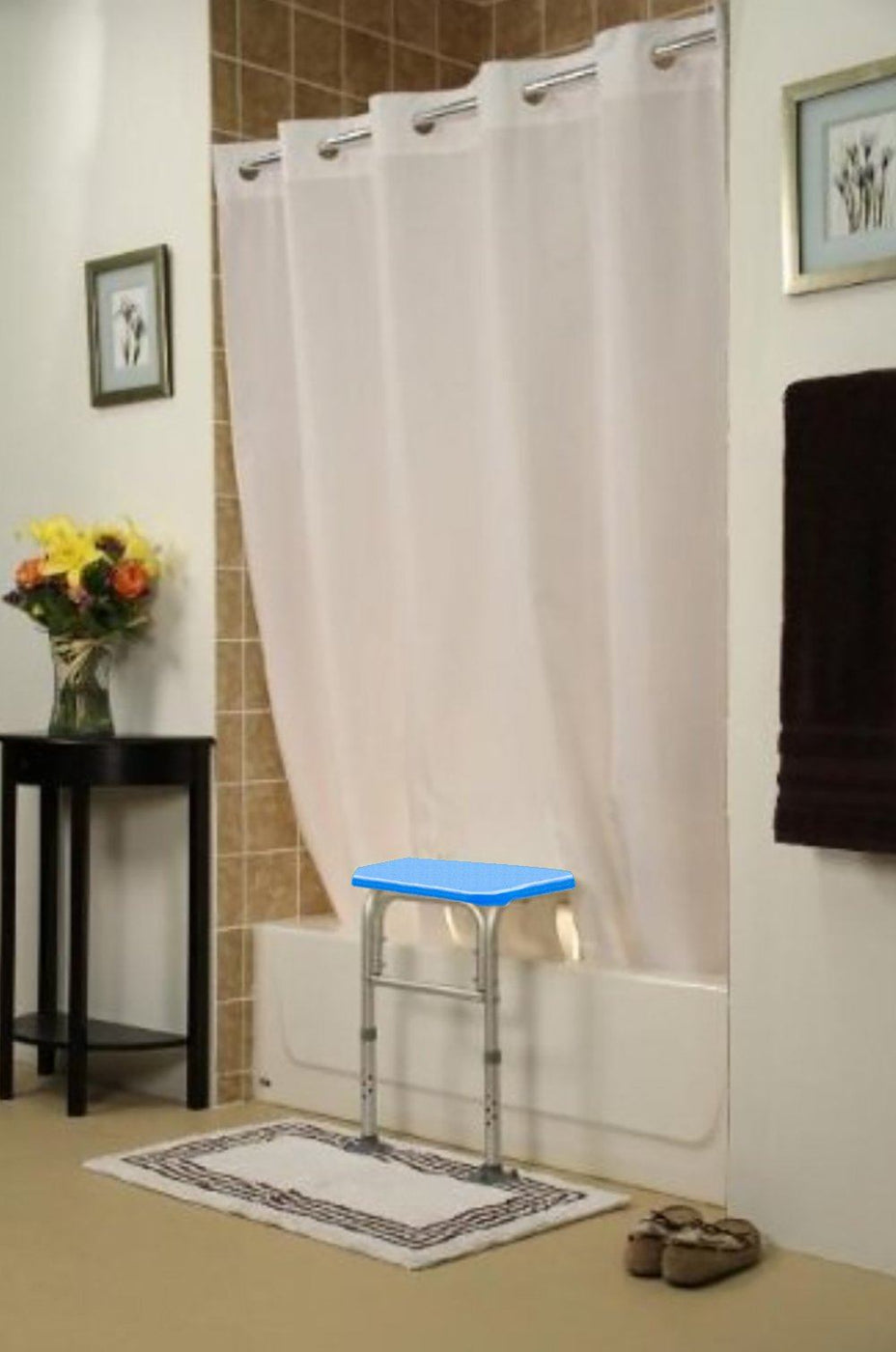 BenchMate Split Shower Curtain for Bath Transfer Benches - Beautiful Designer Fabric, Premium Hookless Quick-Attach System, Designed Specifically to Help Keep Water off the Floor
