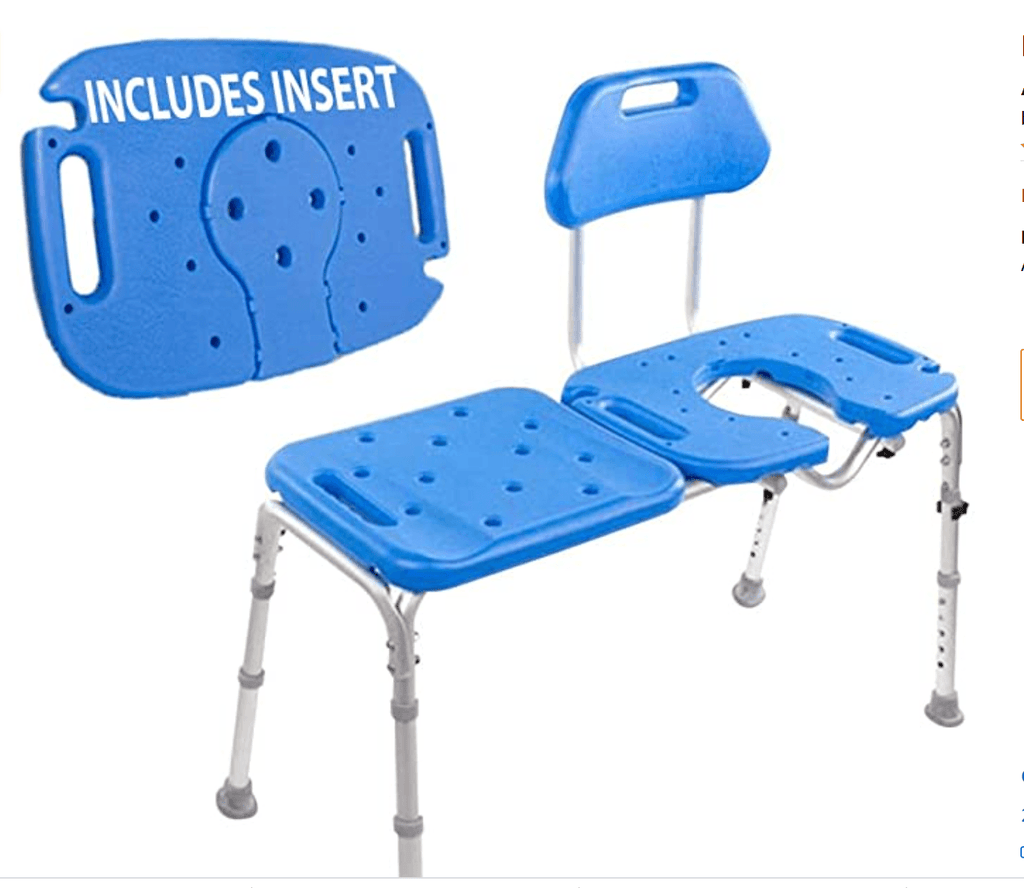 BATH TRANSFER BENCH WITH CUTOUT - REMOVABLE INSERT
