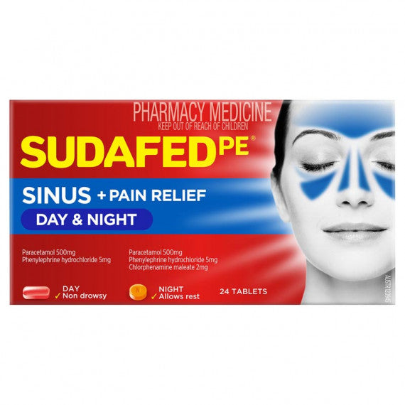 Sudafed Pe Sinus Day & Night Tabs 24