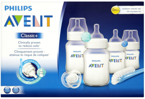 Avent - Classic+ born Starter Set Kit - Bottles, Brush & Soother Baby Bottle