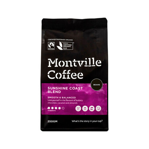 Montville Coffee Organic Sunshine Coast Blend Beans 250g Tea & Coffee