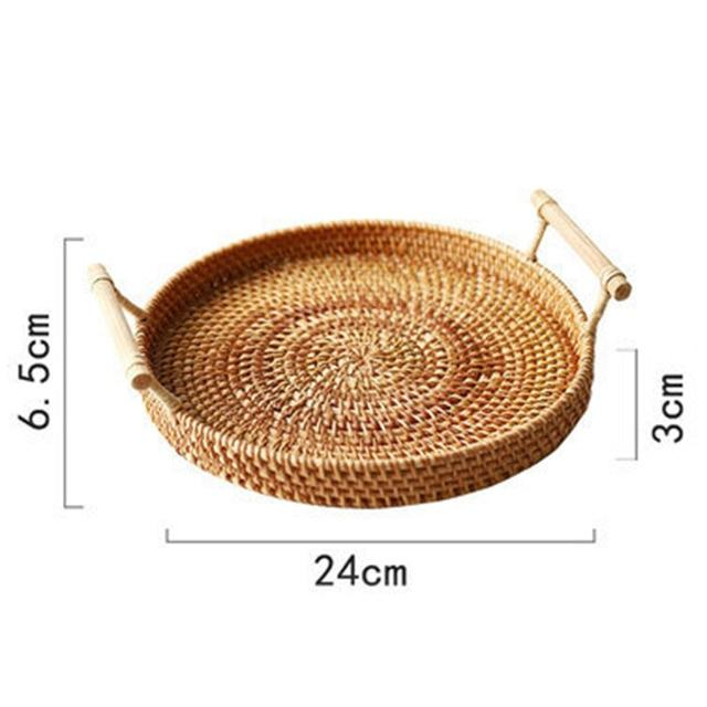 Rattan Handwoven Round High Wall Serving Tray