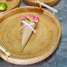 Load image into Gallery viewer, Rattan Handwoven Round High Wall Serving Tray