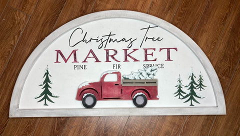 Christmas Tree Market with Red Truck