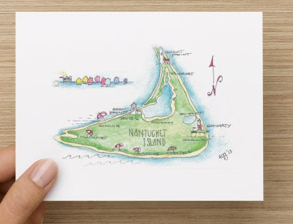 Nantucket Map Note Cards