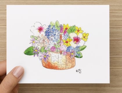Flower Basket Note Cards