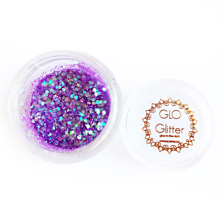 glow in the dark glitter festival style UV black light GLO TATTS purple