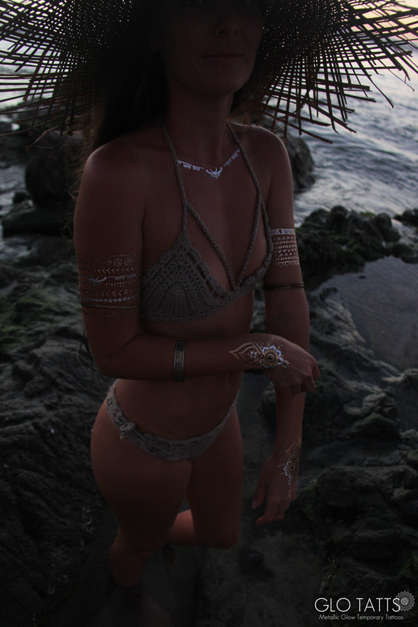GLO TATTS flash tattoo lack of color straw hat crochet bikini Byron Bay