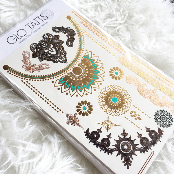 GLO TATTS® Devi Pack Metallic Temporary Tattoos - GLO TATTS  - 1
