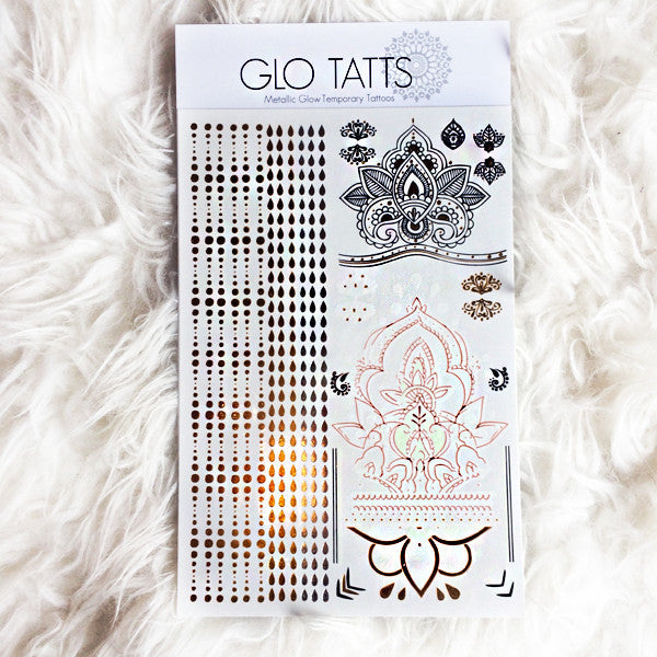 GLO TATTS® Legs Eleven Pack Metallic Temporary Tattoos - GLO TATTS  - 1