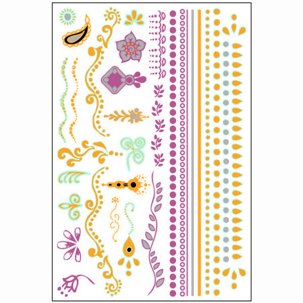 GLO TATTS® Tikka Pack Metallic Glow Temporary Tattoos - GLO TATTS  - 6