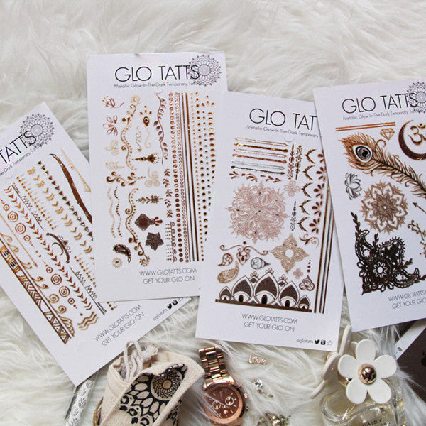 GLO TATTS® Tikka Pack Metallic Glow Temporary Tattoos - GLO TATTS  - 5