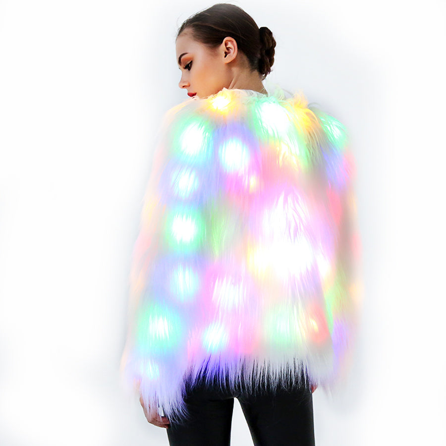 ALL NEW Limited Edition 'THE Jacket' - LED Light Faux Fur Jacket - Flashing Rainbow Party Coat