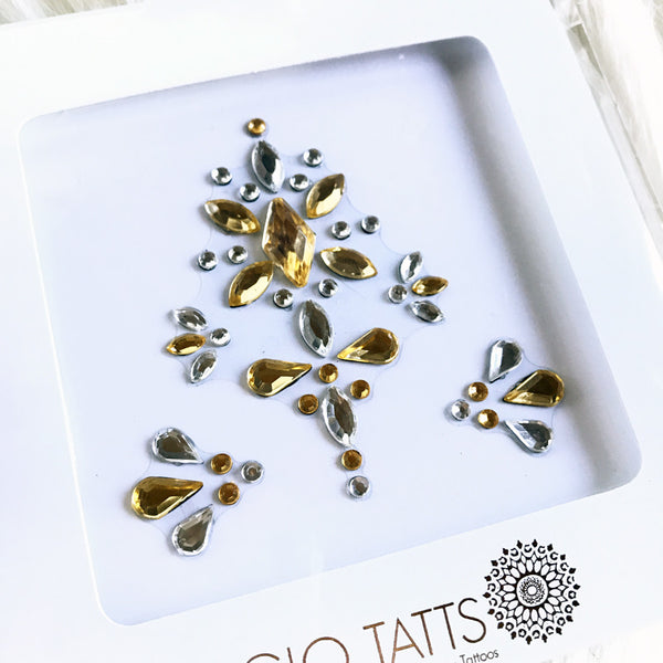 All-in-one GLO Bindi - Chunky Crystal Face Gems in Gold Silver