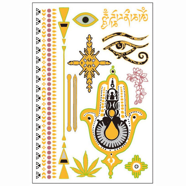 GLO TATTS® Hamsa Pack Metallic Temporary Tattoos - GLO TATTS  - 6