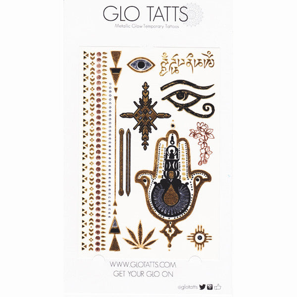 GLO TATTS® Hamsa Pack Metallic Temporary Tattoos - GLO TATTS  - 5